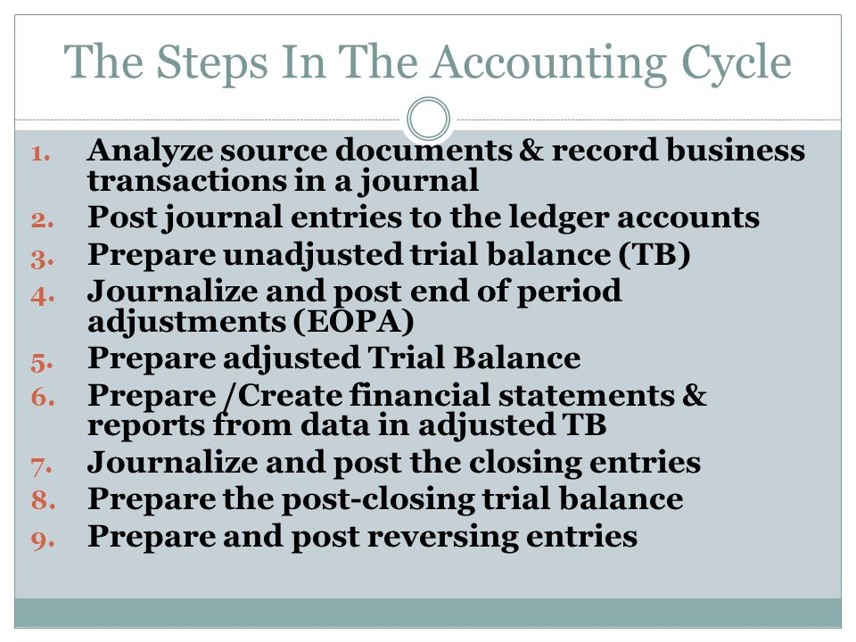 The Steps In The Accounting Cycle