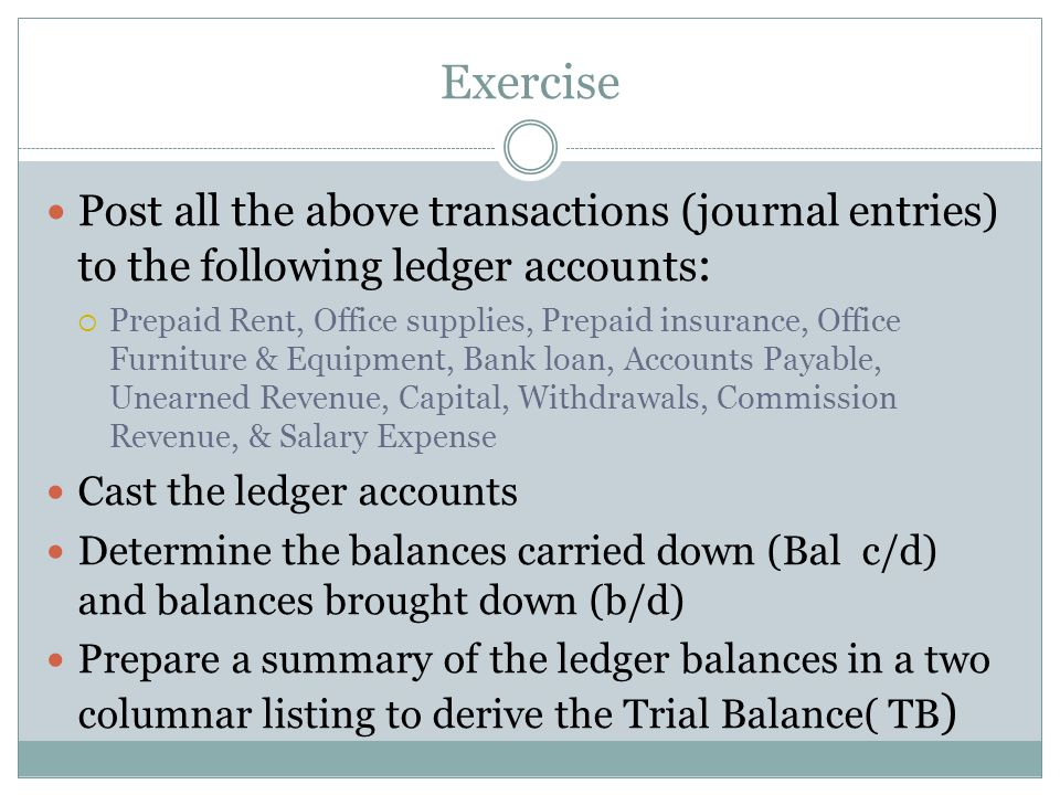 Exercise Post all the above transactions (journal entries) to the following ledger accounts: