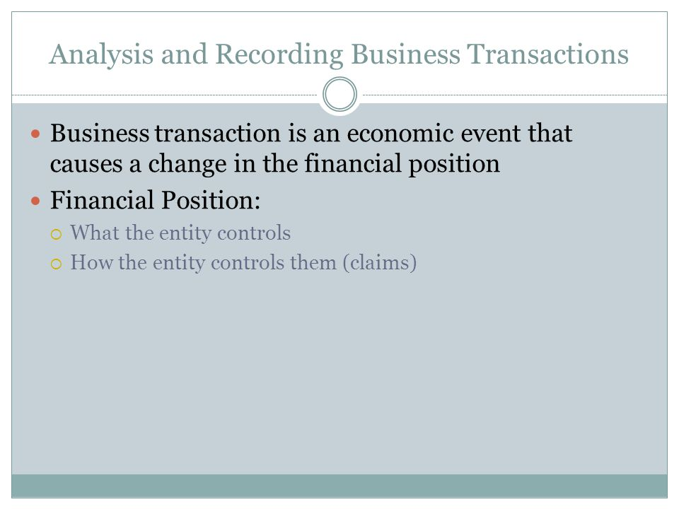 Analysis and Recording Business Transactions