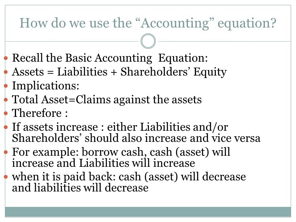 How do we use the Accounting equation