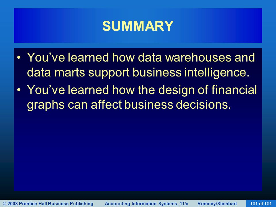 SUMMARY You've learned how data warehouses and data marts support business intelligence.