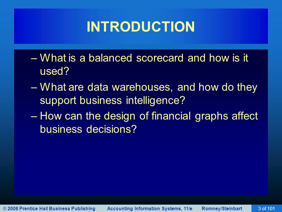 INTRODUCTION What is a balanced scorecard and how is it used