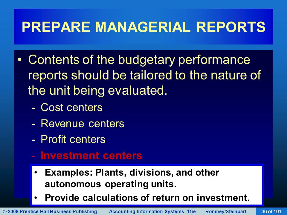 PREPARE MANAGERIAL REPORTS