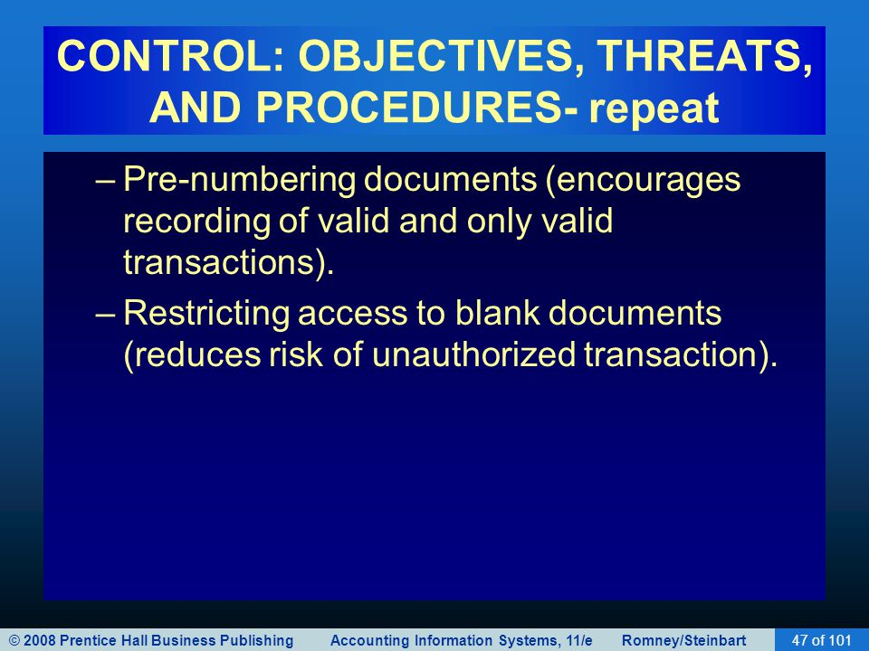 CONTROL: OBJECTIVES, THREATS, AND PROCEDURES- repeat