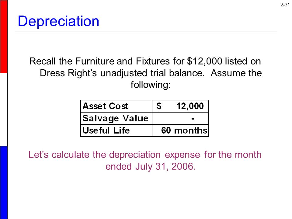 Depreciation Recall the Furniture and Fixtures for $12,000 listed on Dress Right's unadjusted trial balance. Assume the following: