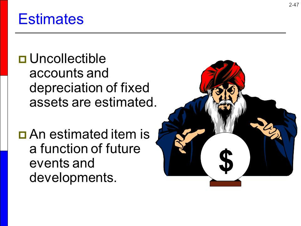 Estimates Uncollectible accounts and depreciation of fixed assets are estimated. An estimated item is a function of future events and developments.