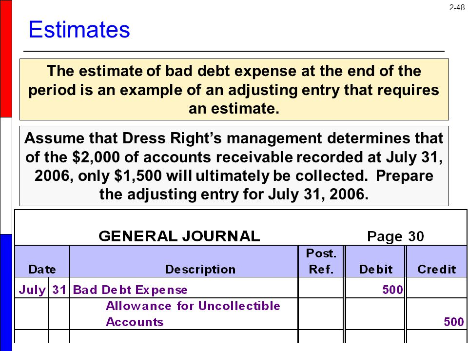 Estimates The estimate of bad debt expense at the end of the period is an example of an adjusting entry that requires an estimate.