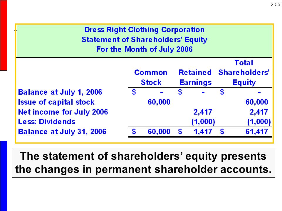 The statement of shareholders' equity discloses the sources of changes in the permanent shareholders' equity accounts.