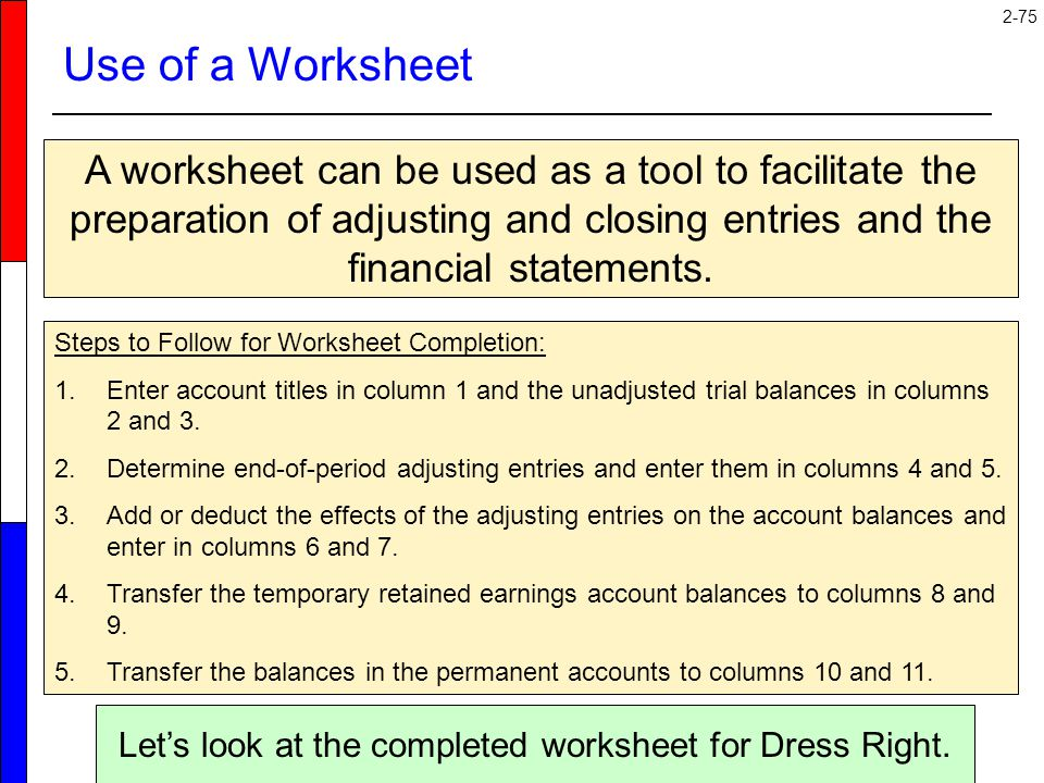 Let's look at the completed worksheet for Dress Right.