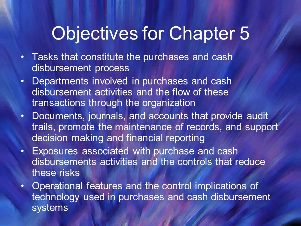 Objectives for Chapter 5