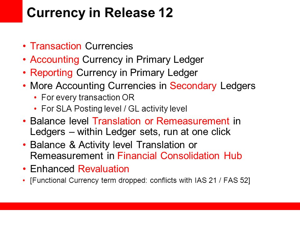 Currency in Release 12 Transaction Currencies