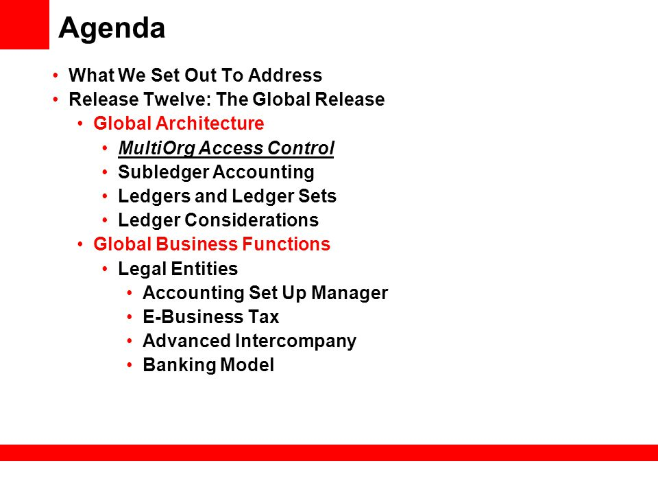 Agenda What We Set Out To Address Release Twelve: The Global Release