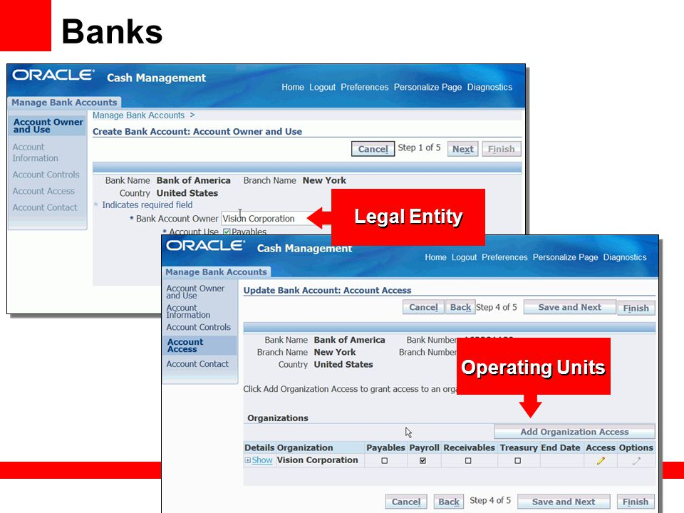 Banks Legal Entity Operating Units