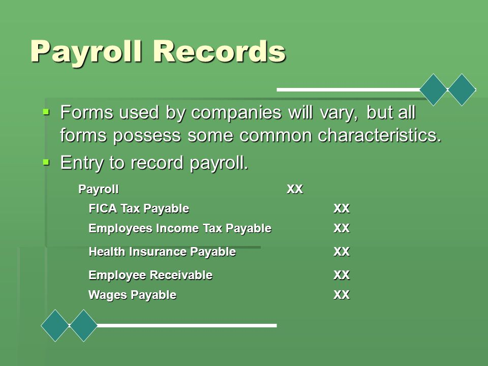 Payroll Records Forms used by companies will vary, but all forms possess some common characteristics.