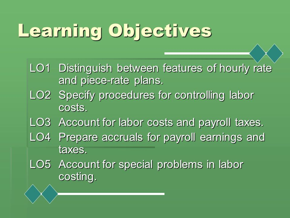 Learning Objectives LO1 Distinguish between features of hourly rate and piece-rate plans. LO2 Specify procedures for controlling labor costs.