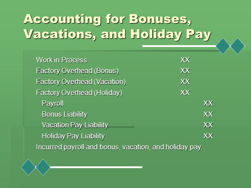 Accounting for Bonuses, Vacations, and Holiday Pay