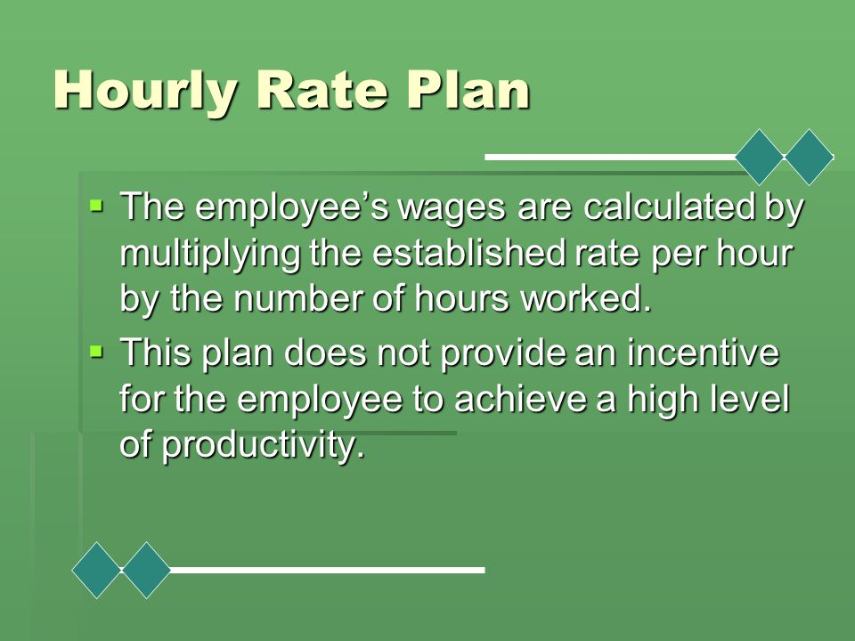 Hourly Rate Plan The employee's wages are calculated by multiplying the established rate per hour by the number of hours worked.