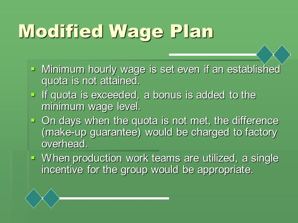 Modified Wage Plan Minimum hourly wage is set even if an established quota is not attained.
