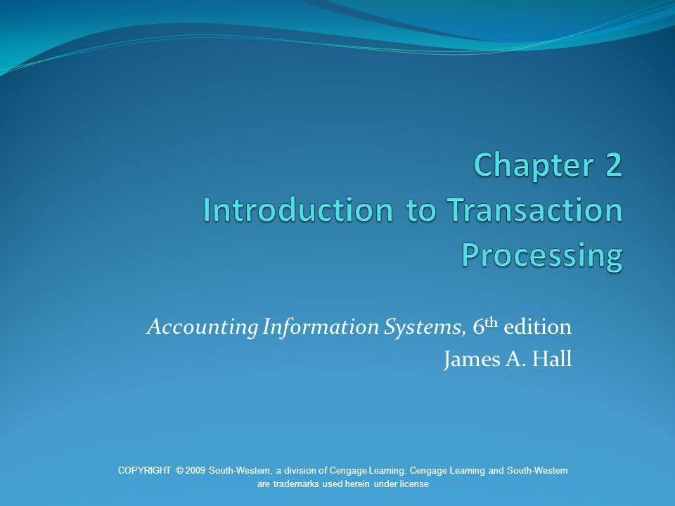 Chapter 2 Introduction to Transaction Processing