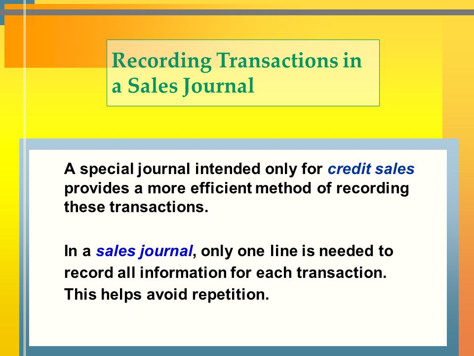 Recording Transactions in a Sales Journal