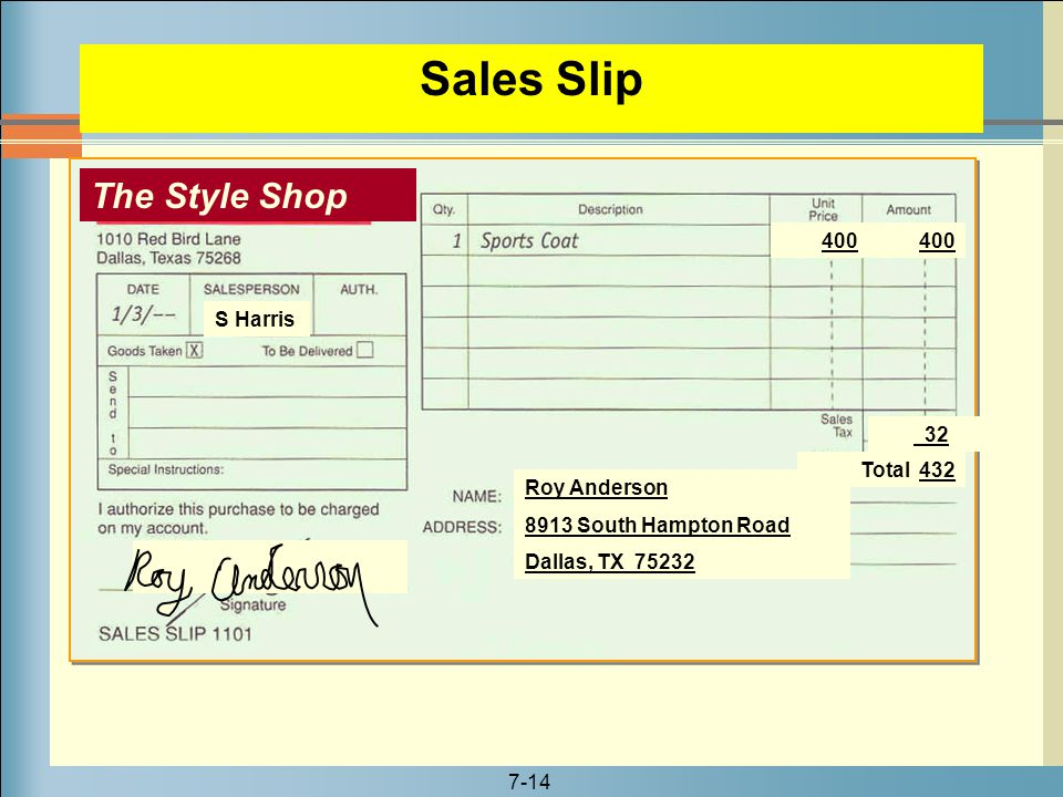 Sales Slip The Style Shop 400 400 S Harris 32 Total 432 Roy Anderson