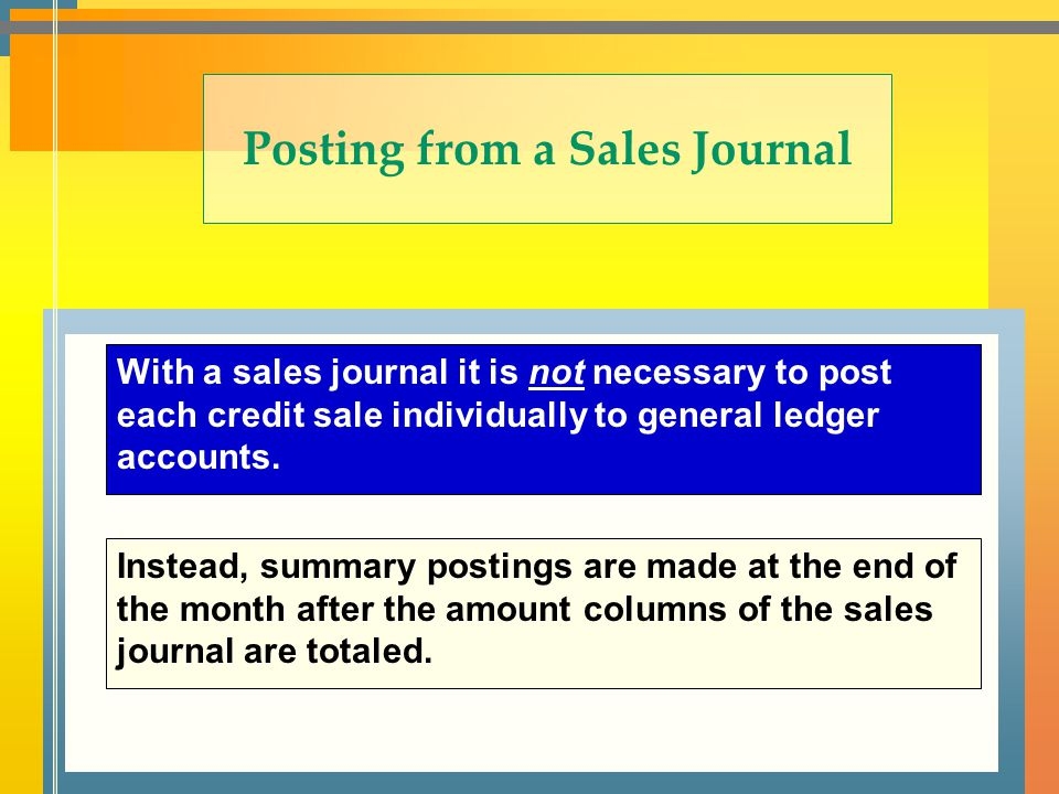 Posting from a Sales Journal