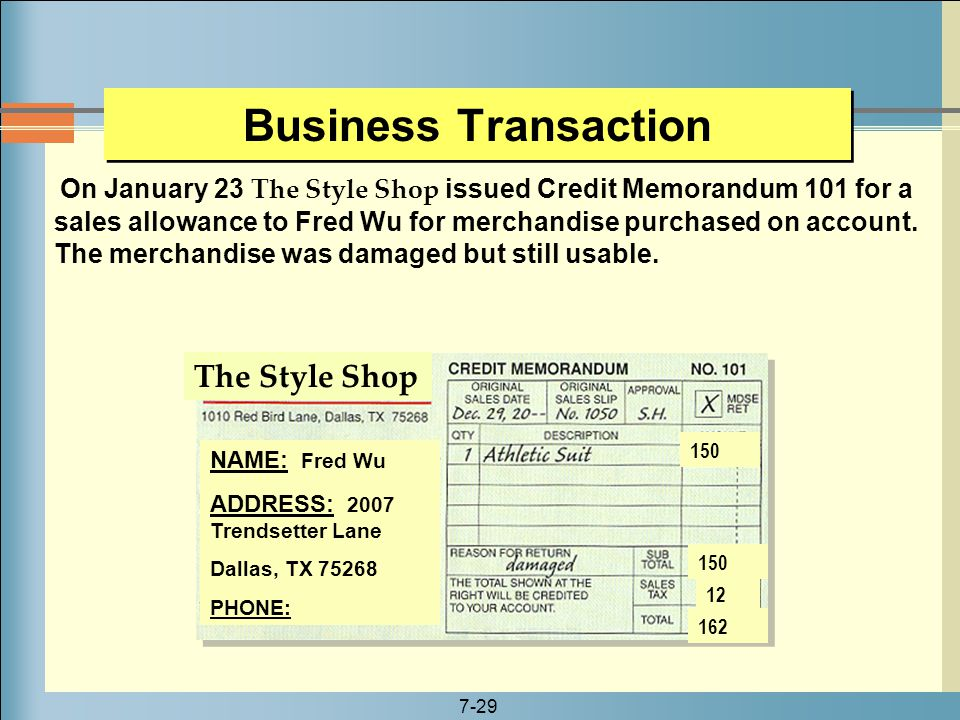Business Transaction The Style Shop