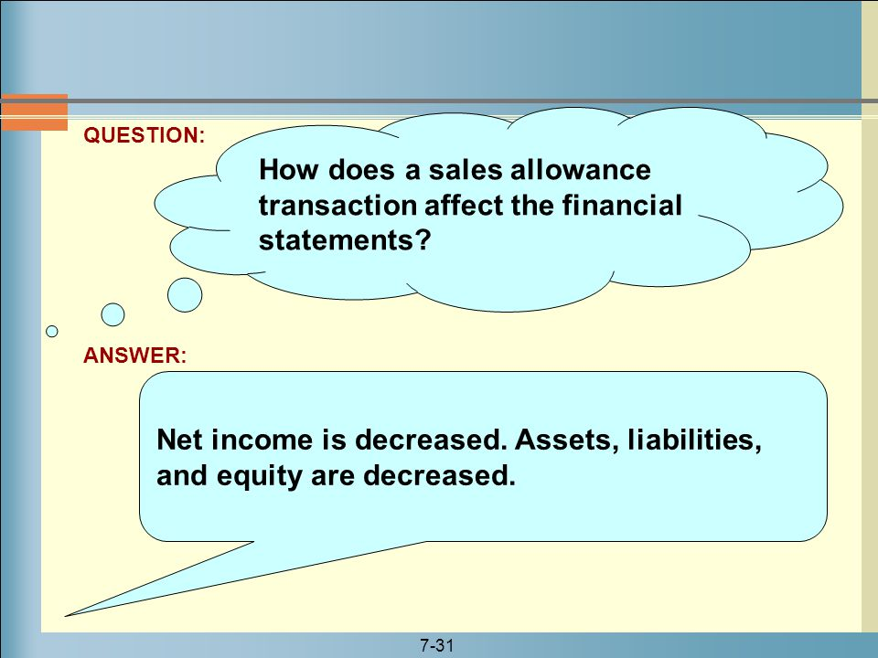 How does a sales allowance transaction affect the financial statements