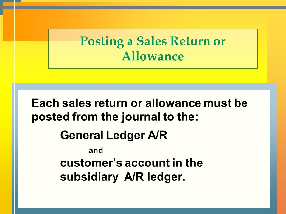 Posting a Sales Return or Allowance