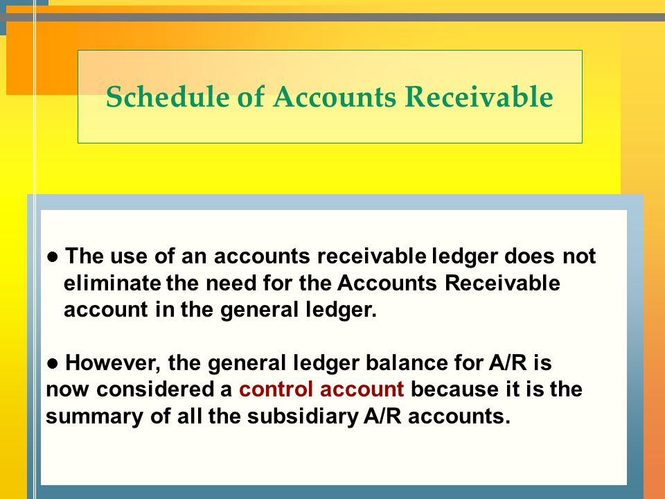 Schedule of Accounts Receivable