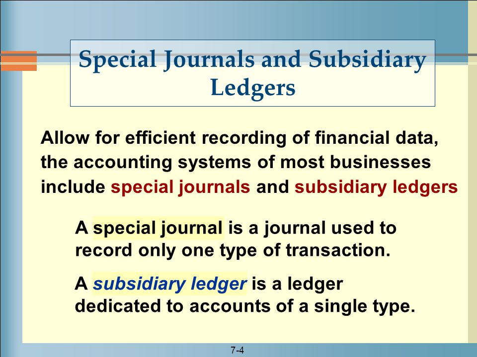 subsidiary ledgers and special journals Special journals page 1 of 5 accounting systems – special journals and subsidiary ledgers chapter 7 time-saving devices journals ledgers.