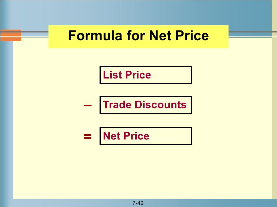 Formula for Net Price – =