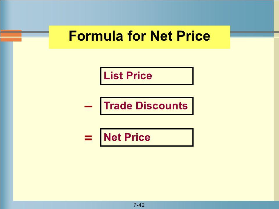 Formula for Net Price – =