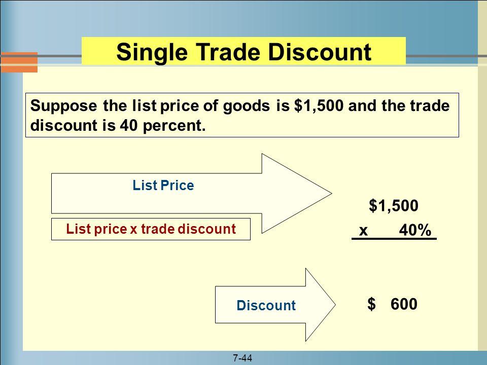List price x trade discount