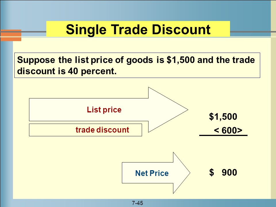 Single Trade Discount Suppose the list price of goods is $1,500 and the trade discount is 40 percent.