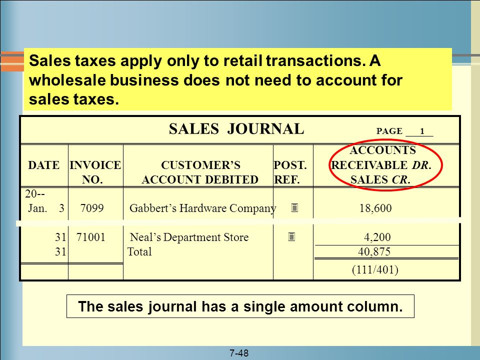 The sales journal has a single amount column.