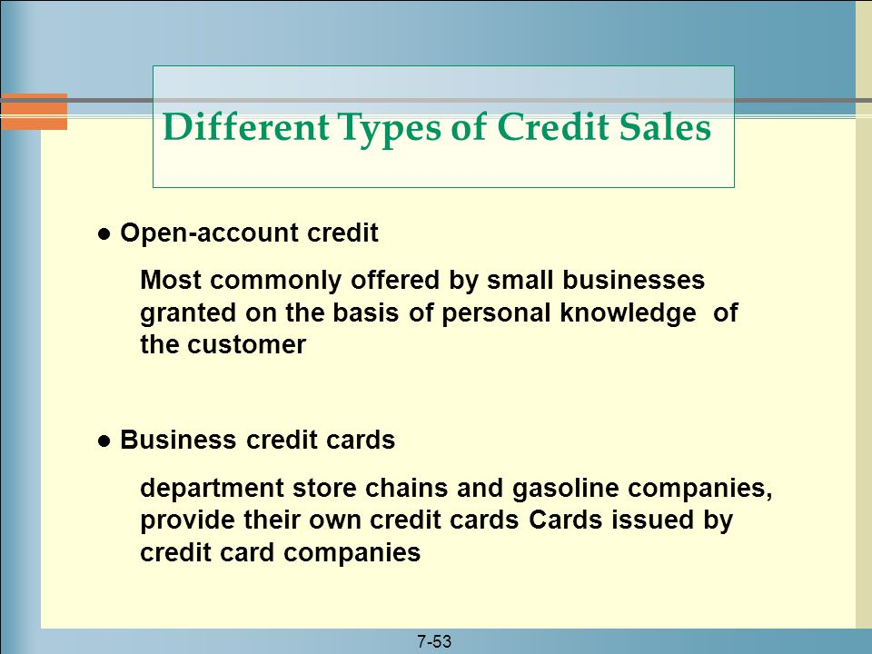 Different Types of Credit Sales