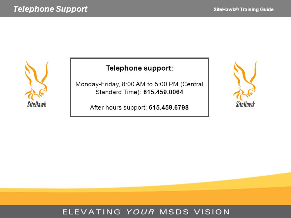 Telephone Support Telephone support: