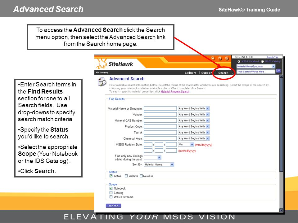 Advanced Search SiteHawk® Training Guide.
