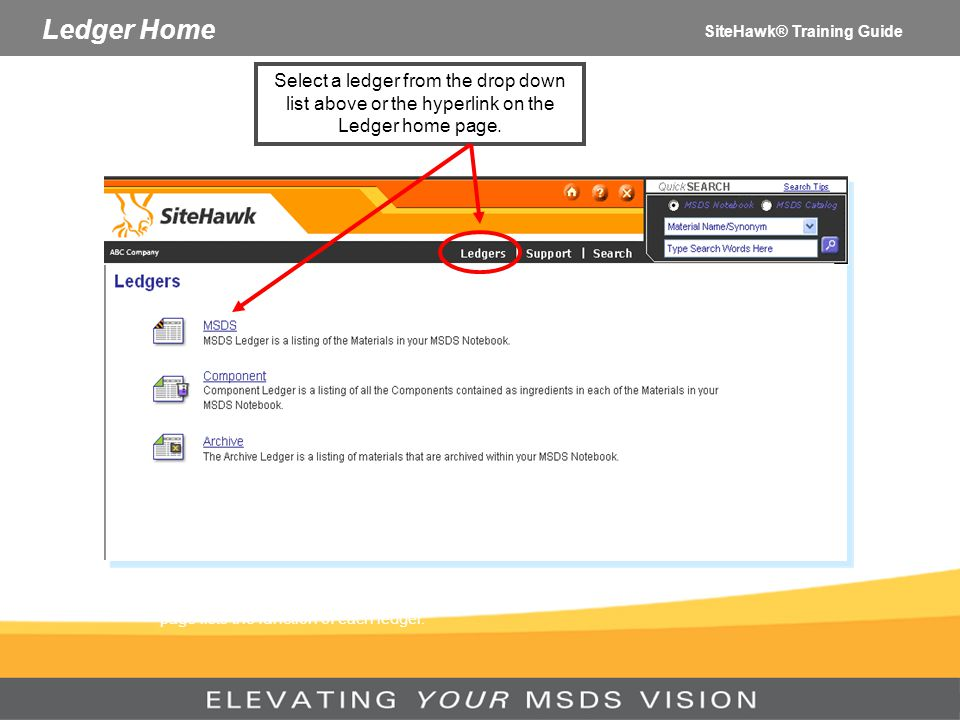 Ledger Home SiteHawk® Training Guide. Select a ledger from the drop down list above or the hyperlink on the Ledger home page.