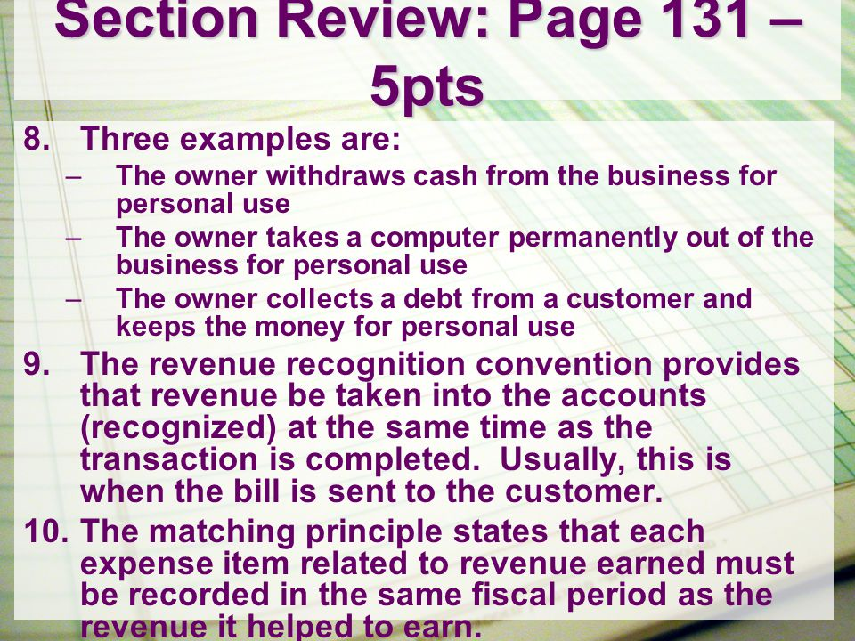 Section Review: Page 131 – 5pts