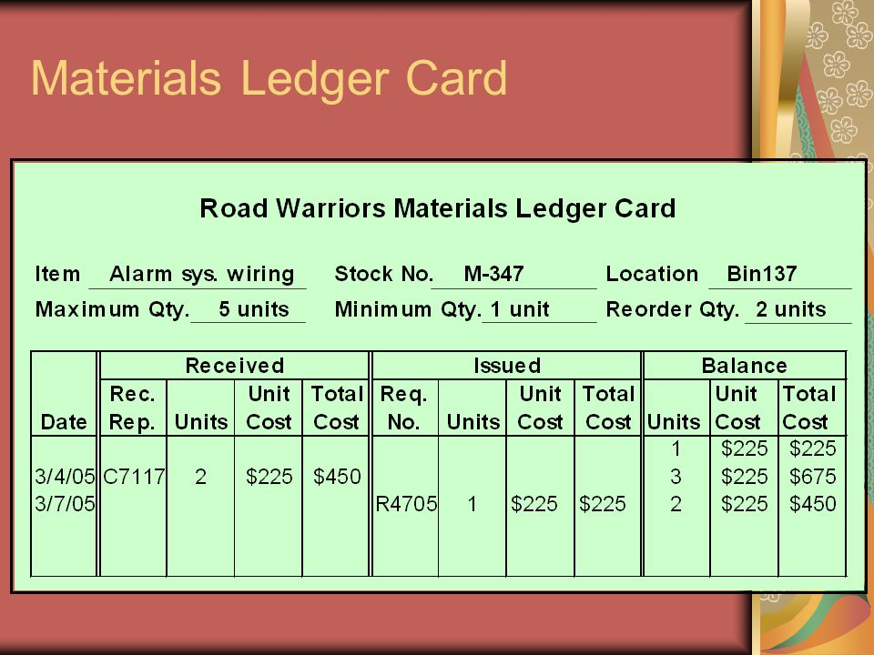 Materials Ledger Card