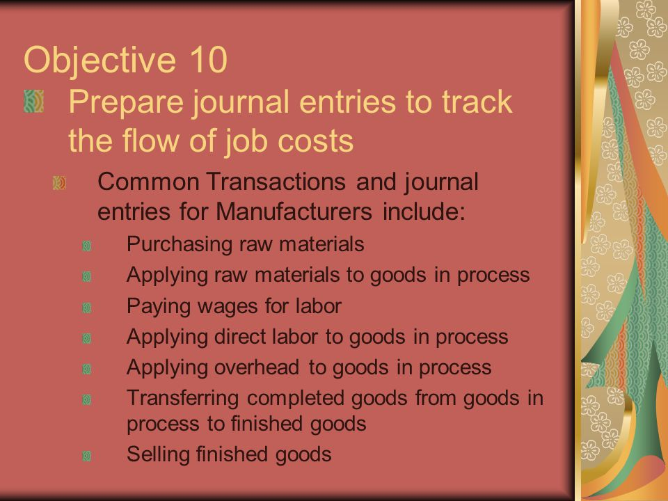 Objective 10 Prepare journal entries to track the flow of job costs