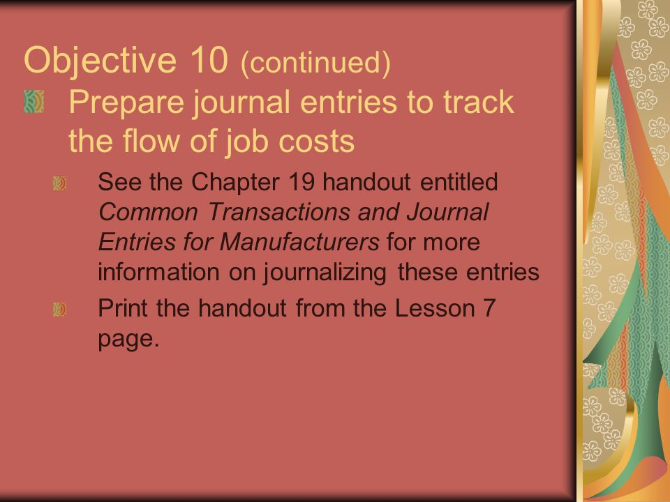 Objective 10 (continued)