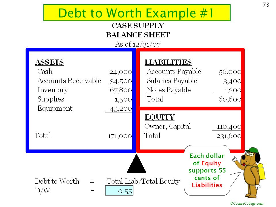 Each dollar of Equity supports 55 cents of Liabilities