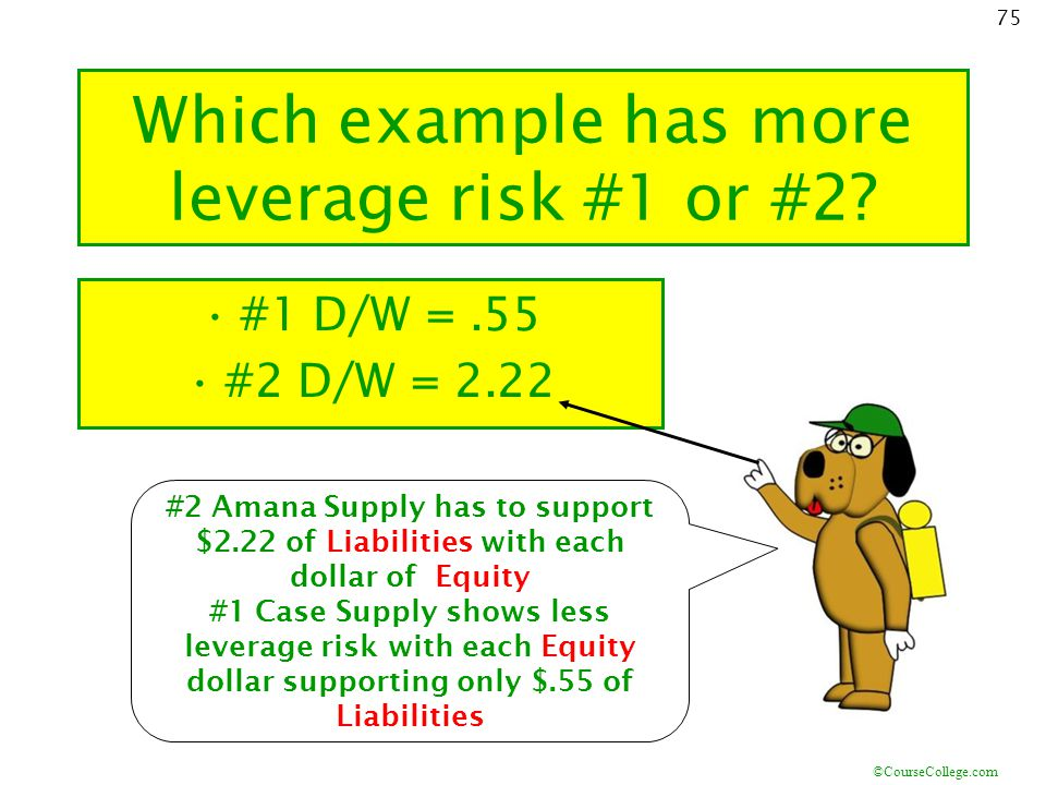 Which example has more leverage risk #1 or #2