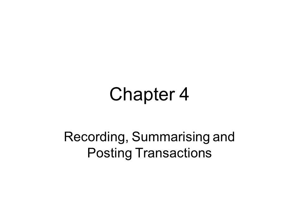 Recording, Summarising and Posting Transactions