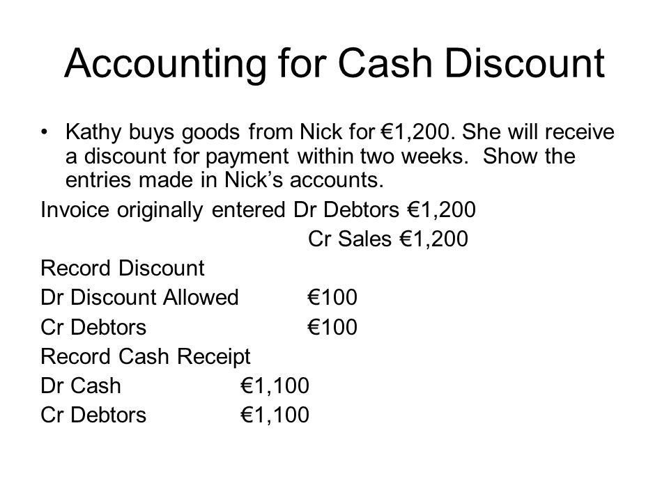 Accounting for Cash Discount