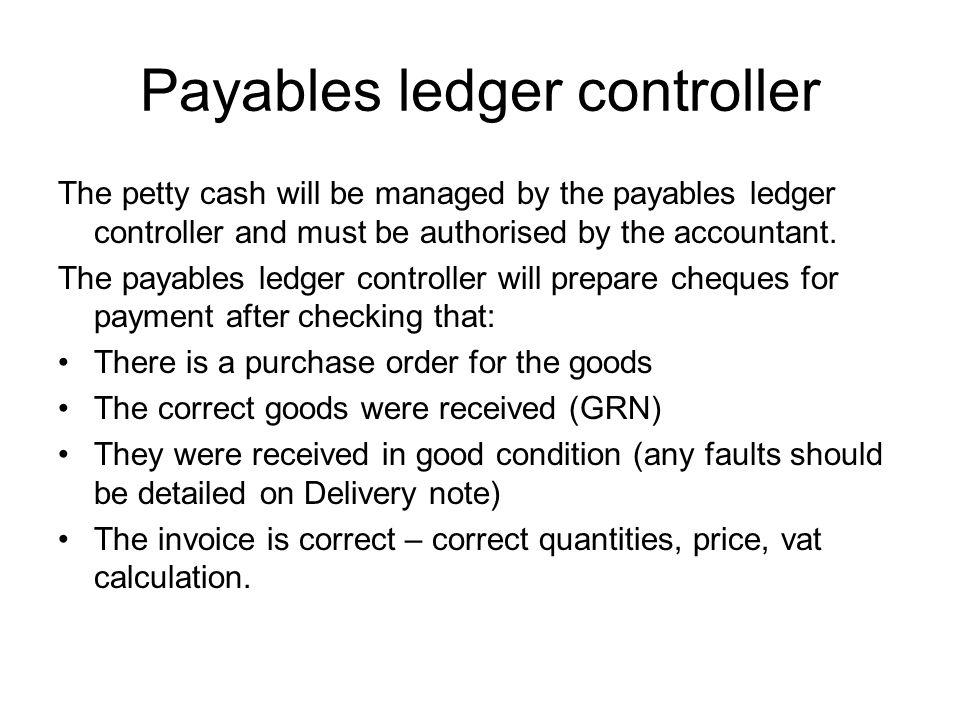 Payables ledger controller
