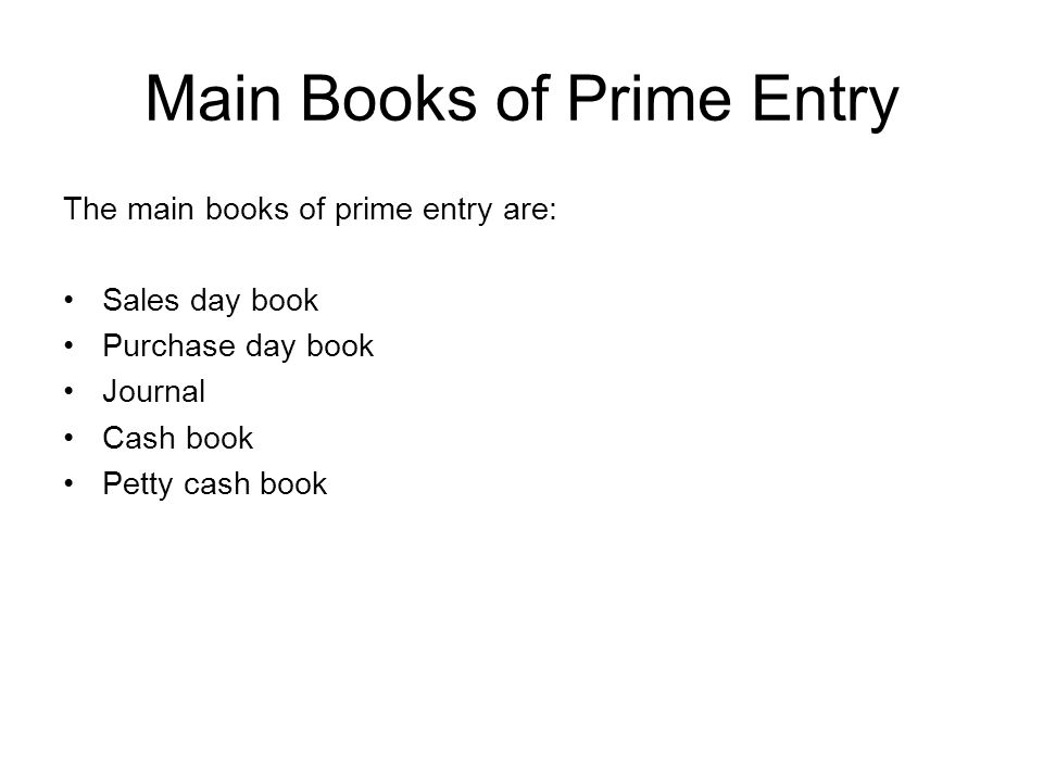 Main Books of Prime Entry